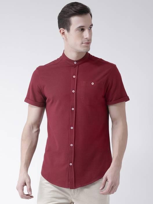 03b802158d59 Club York Men s Self Design Casual Maroon Shirt - Buy Club York ...
