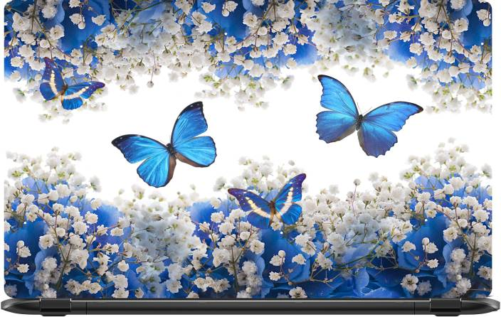 f6719cb22c38 Lapower Blue butterflies with white flowers Vinyl Laptop Decal 15.6 ...