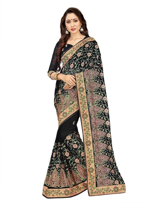 20358236c7 Buy Mirchi Fashion Embroidered Bollywood Faux Georgette Black Sarees ...