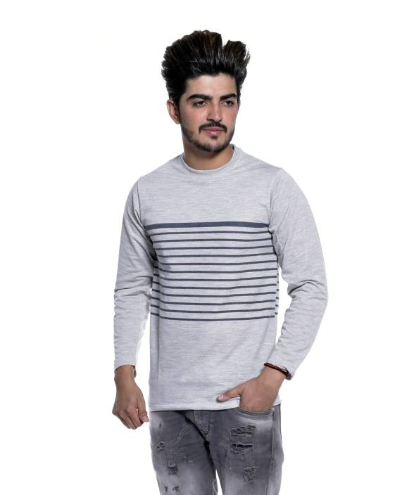 f2b259632a Reo Active Wear (RAW) Striped Men's Round Neck Grey T-Shirt - Buy ...