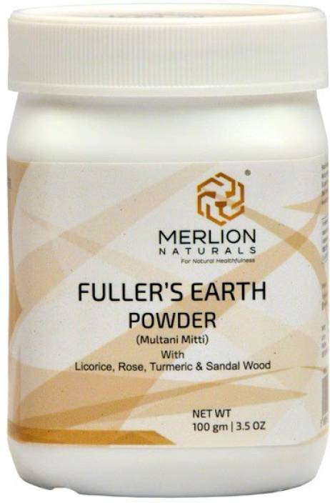 Merlion Naturals Fullers Earth (Multani Mitti) Face Pack with Sandal Wood,  Turmeric, Licorice and RosePowder   100% Natural, No Additives, No
