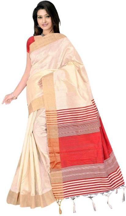 Kanooda Prints Solid Mekhela Chador Cotton Silk Saree