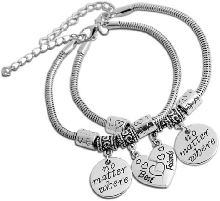 Divastri Metal Silver Charm Bracelet