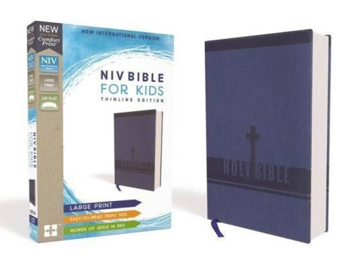 NIV, Bible for Kids, Large Print, Leathersoft, Blue, Red Letter
