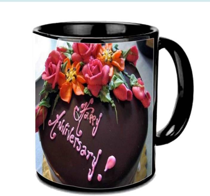 Vishu Cake Rose Love Anniversary Black Ceramic Mug Price In India