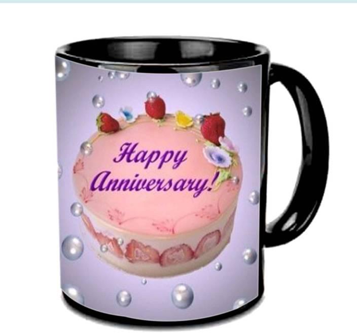 Vishu Cake Beads Anniversary Black Ceramic Mug Price In India Buy