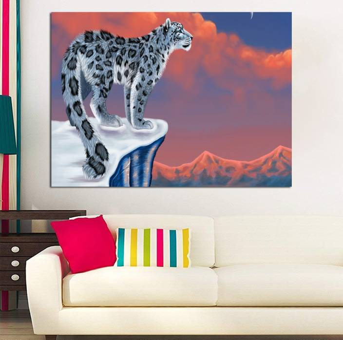 Style Crome Snow Leopard Landscape Painting For Home Decor Bedroom