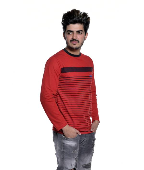 818e3b778d Reo Active Wear (RAW) Striped Men's Round Neck Red T-Shirt - Buy Reo ...