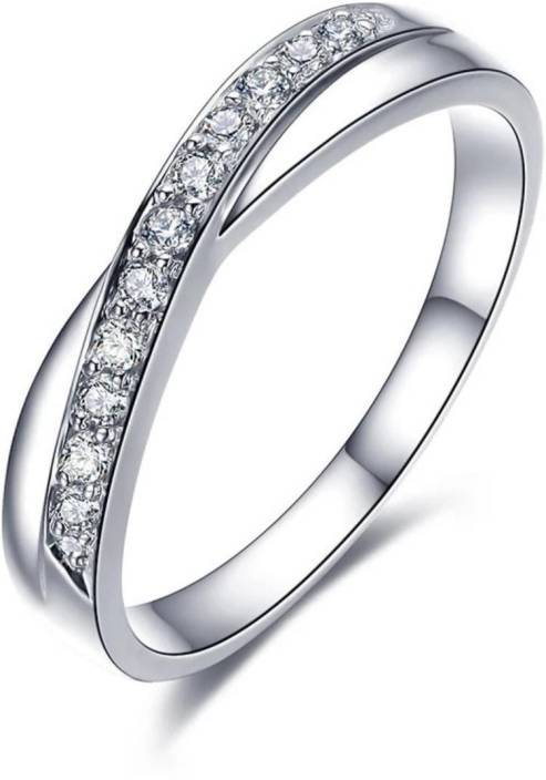 f98ca7500a231d MYKI Princess Zircon Silver Plated Cross Design Adjustable Ring for Women(Silver)  Sterling Silver Swarovski Zirconia Sterling Silver Plated Ring Price in ...