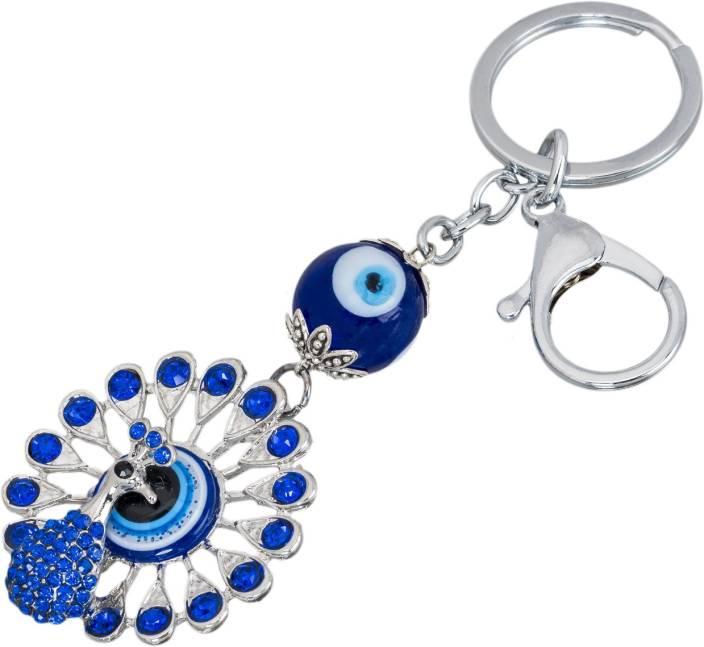 Shubheksha Evil Eye Peacock Design Metallic Locking Key