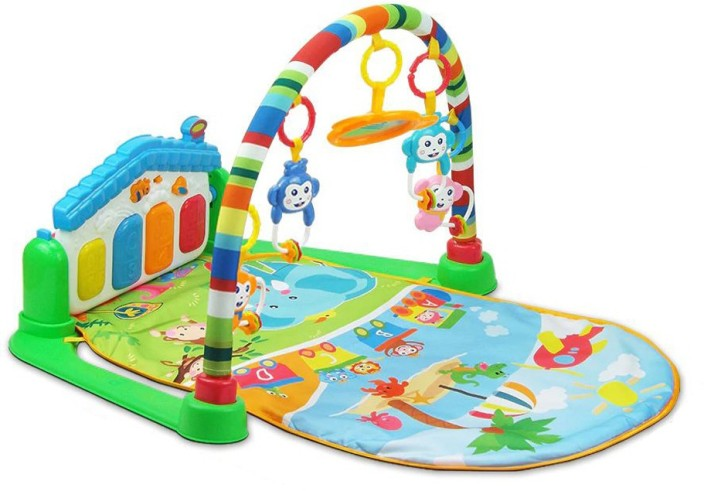 Small Baby Boy Infant Care Sit Lay and Kick On The Go STEM Gear Play Mat Set with Lights for Newborn Babies Baby Activity Play Games Piano Music Gym Mat