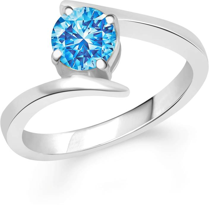 Divastri Anchor Blue Solitaire Alloy Cubic Zirconia Rhodium Plated Ring
