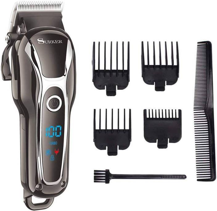 Surker Cordless Hair Clippers Man s Grooming Kit Haircut Kit For Men Beard  Trimmer Shaver Rechargeable With LCD Display Black Heavy Shaver For Men  (Black) 0a9a943a3f