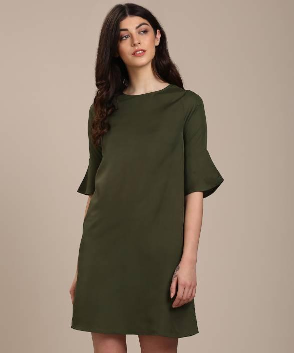 c99c335db6164 Provogue Women's Shift Green Dress - Buy Green Provogue Women's ...