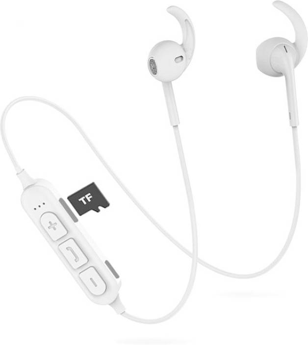 fb05a6b86ab PTron Avento Pro v4.2 Sports Earbuds With TF Card Reader Bluetooth Headset  with Mic (White