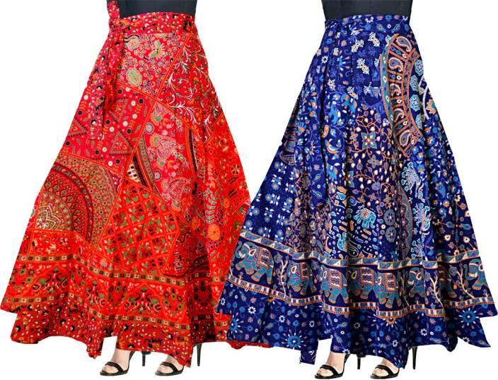 JWF Printed Women's Wrap Around Red, Blue Skirt
