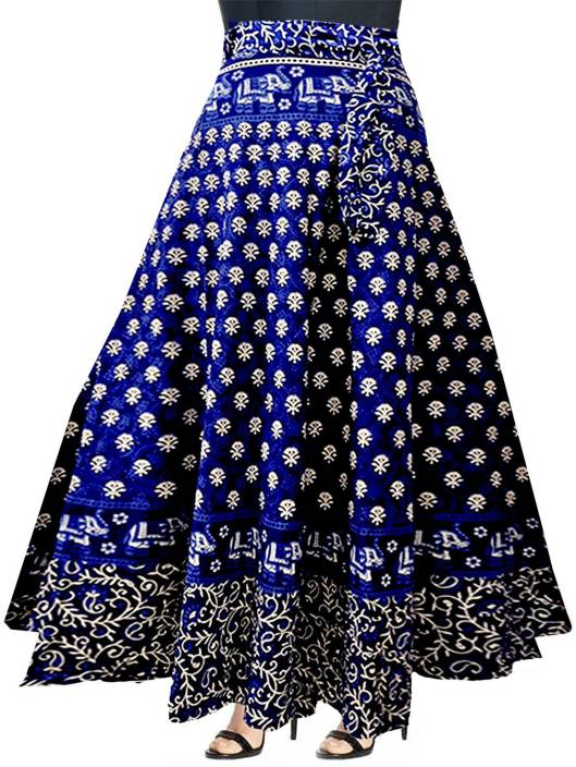 JWF Printed Women's Wrap Around Blue Skirt