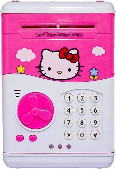 98c8ba59d Collectionmart Mini Electric Secret Password Safe ATM Piggy Bank Money Safe  Deposit Box Toy (Hello Kitty) Coin Bank (Pink)