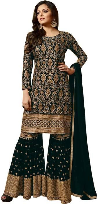 2755836314 Salwar Soul Georgette Embroidered Semi-stitched Salwar Suit Dupatta ...