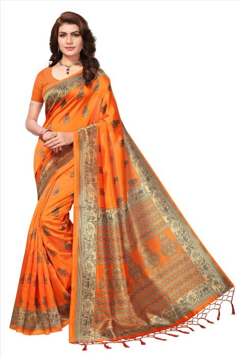 Pagazo Printed Kalamkari Art Silk Saree