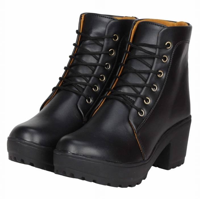 Zapatoz Woman Comfortable Long Black Shoe Boots For Women Boots For Women