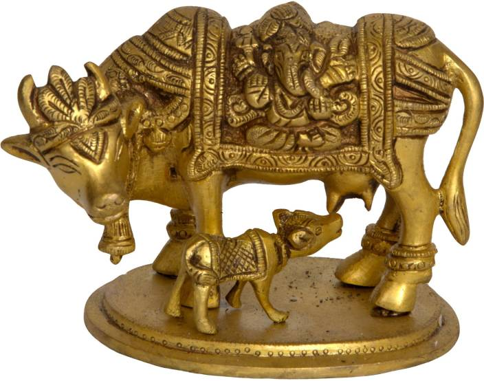 Exotic India Cow and Calf - Saddle Decorated with Lakshmi