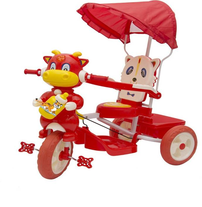 86fa54b3dc3 Oximus Baby Tricycle for Kids with Front and Back Basket Parent Handle with  Canopy Musical Kids ...
