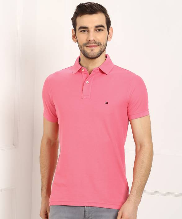 f38260c604 Tommy Hilfiger Solid Men s Polo Neck Pink T-Shirt - Buy Tommy Hilfiger  Solid Men s Polo Neck Pink T-Shirt Online at Best Prices in India