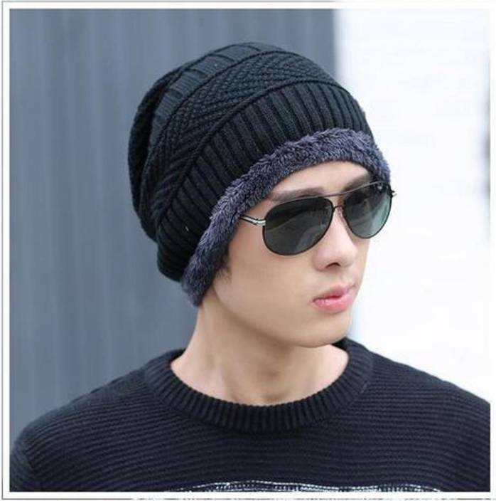 4c0c36eb0 AlexVyan Self Design, Solid, Striped Unisex Woolen Beanie Cap for Men Women  Girl Boy Warm Snow Proof Black Premium High Quality Soft Cap