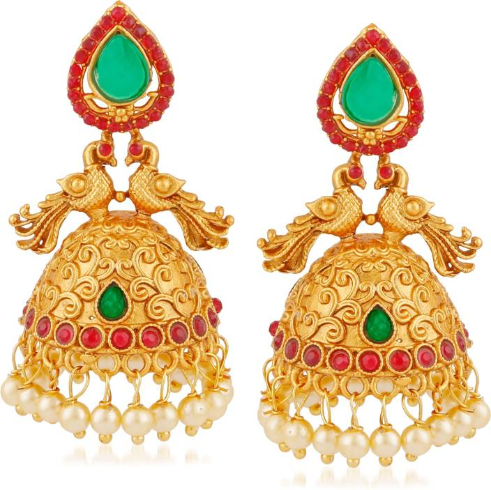 4f7cd65e04 Meenaz Temple Jewellery Sets Traditional Matte Gold Kundan Pearl Stylish  Wedding Ruby Green Peacock Jhumka/