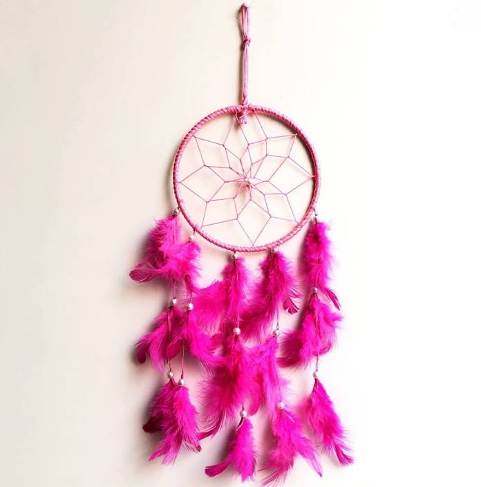 Ryme Pink Dream Catcher Attracts Positive Dreams With Colorl Feather For Home Office Wool Windchime 16 Inch