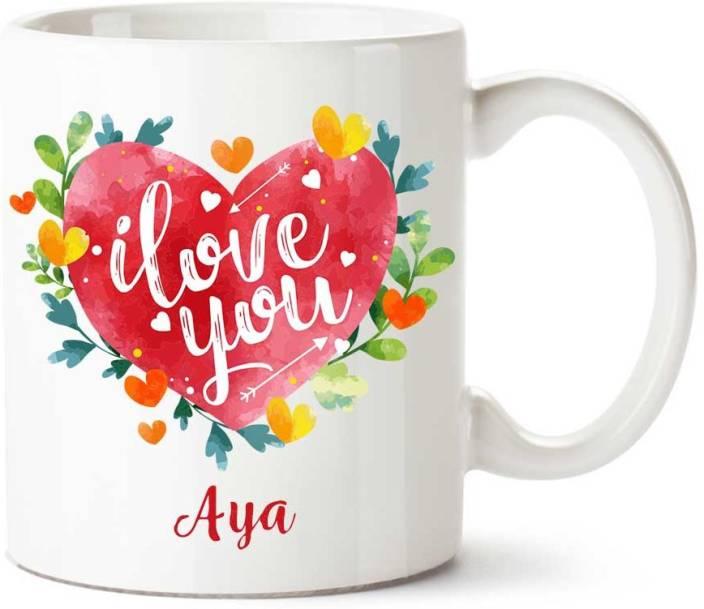 Comogift Aya I Love You Ceramic coffee Name Ceramic Mug