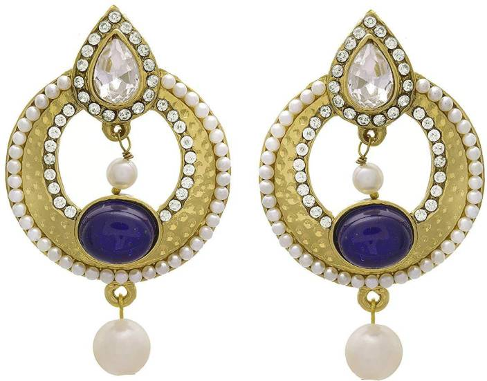 6a4673a372 Flipkart.com - Buy JFL-Jewellery For Less Traditional Ethnic One Gram Gold  Plated Diamonds Blue Stone & Pearl Designer Copper Drop Earring Online at  Best ...