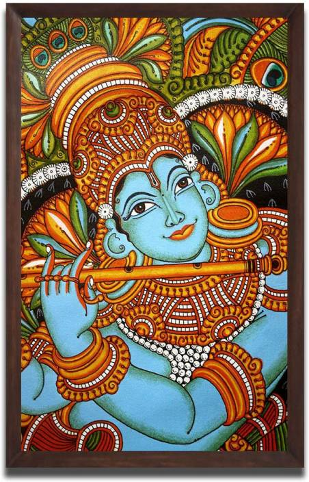 Aart Store Krishna With Flute Kerala Murals Wall Painting For Home