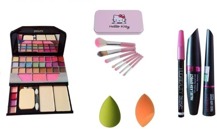 fbce92e79 jollity Make Up Kit Mini Laptop + Hello Kitty Make Up Brush Set Of 7 (PINK)  + Huda Beauty 3 in 1 Kajal, Eyeliner, Mascara + 2 Puff (Set of 7)