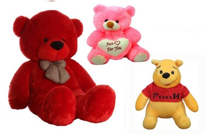 Arvel 3 feet red teddy bear / cute pooh teddy bear /18 cm pink teddy bear /hug able teddy bear/ lovely valentine gift teddy bear/ high quality teddy bear ...