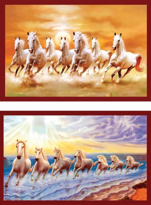 Vastu Nano Poster White 7 Horse Running Sticker Poster 12 X 18
