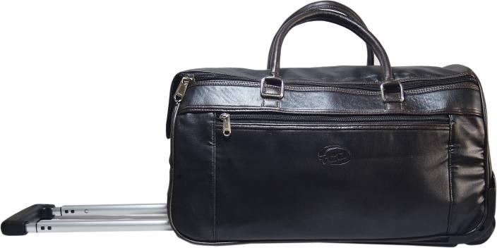 TCB 2 Wheel Black Brown Faux Leather Duffel Trolley Travel Bag Duffel Strolley Bag