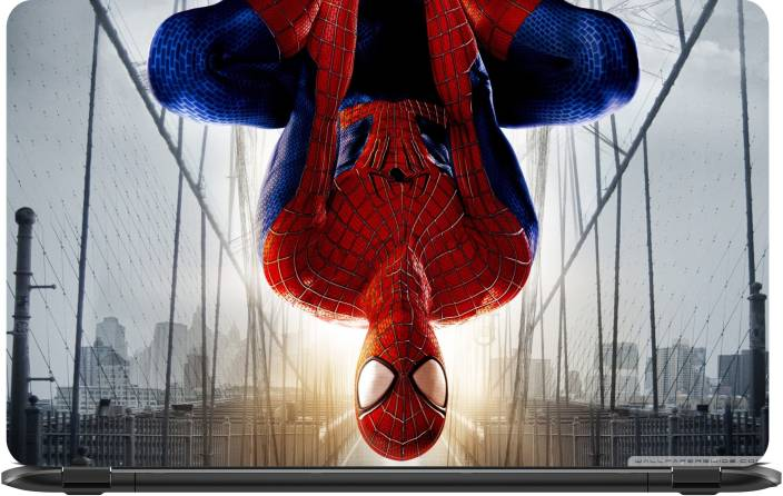 lapower spiderman upside down on bridge vinyl laptop decal 15 6