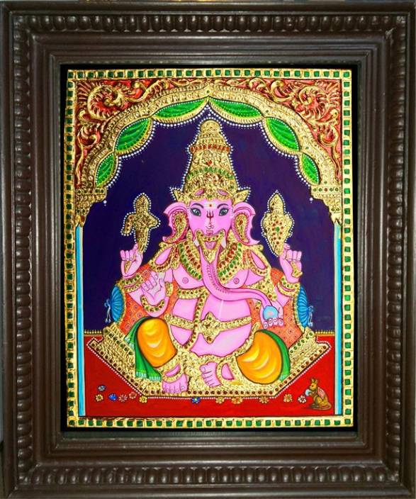 Jlinearts Ganapathy Sitting Tanjore Painting 15 X 12 22 Carat