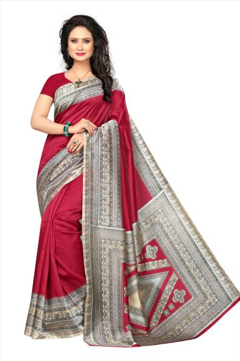 4ae76c7d9 Buy Model Madness Printed Mysore Art Silk Red Sarees Online   Best ...
