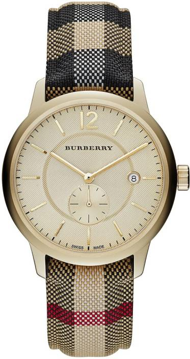f18fc2f01 Burberry BU10001 Gold-tone Dial Check Fabric-Coated Leather Strap Watch -  For Men & Women - Buy Burberry BU10001 Gold-tone Dial Check Fabric-Coated  Leather ...
