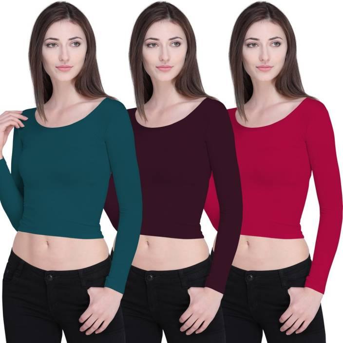 Ziya Casual Full Sleeve Solid Women's Green, Brown, Pink Top