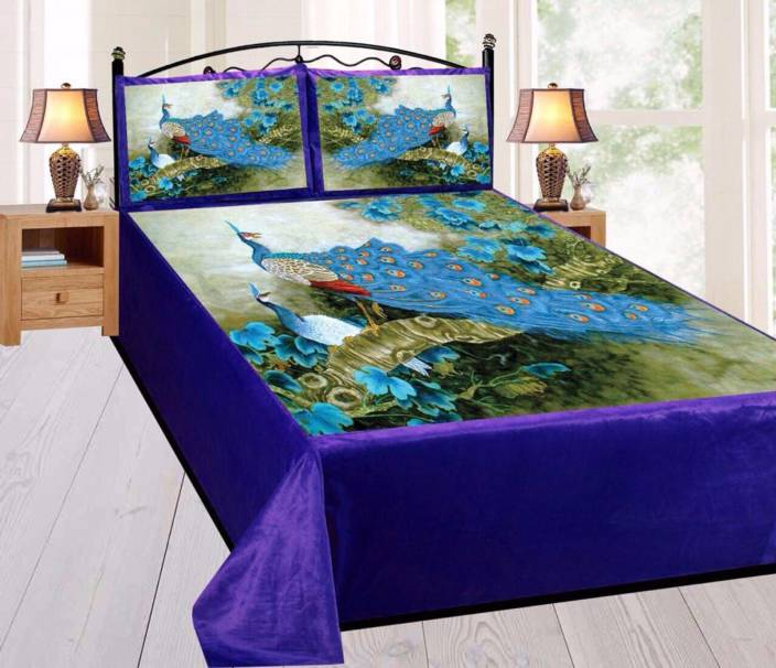 6bb2fe3f71 Style Your Home 180 TC Velvet Double King Printed Bedsheet (Pack of 1, 100%  Velvet Fabric Digital Printed King Size Bedsheet with 2 Pillow Cover(100x100  ...