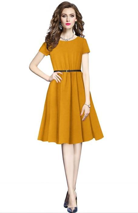 c9bb14e7a3e MINIFLY Women s Fit and Flare Yellow Dress - Buy MINIFLY Women s Fit ...