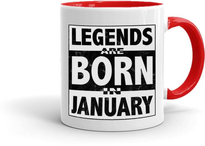 MUGKIN Legends Are Born In January Best Birthday Gift For Brother Friend Inner Red 110 Ceramic Mug 350 Ml