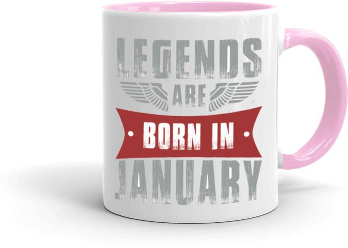 MUGKIN Legends Are Born In January Best Birthday Gift For Brother Friend Inner Pink 151 Ceramic Mug 350 Ml