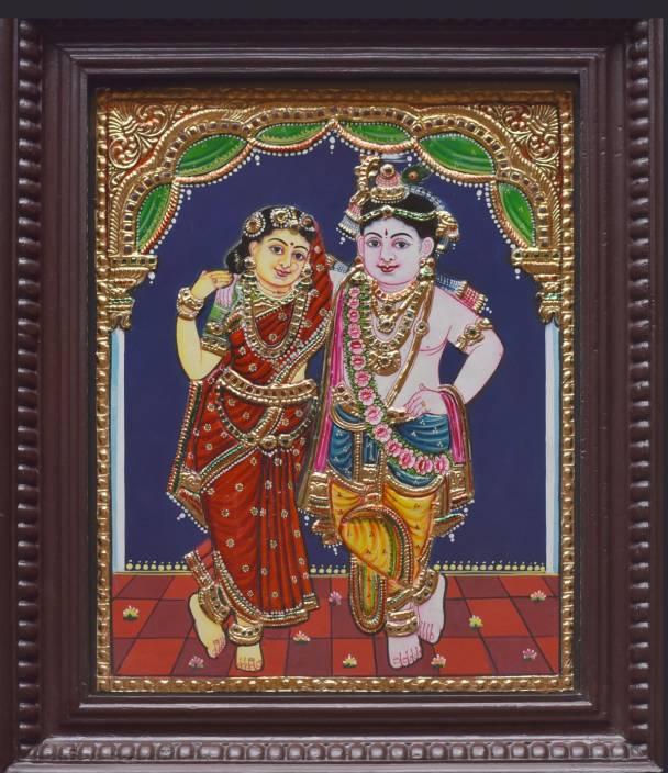 Jlinearts Radhakrishna Tanjore Painting 15 X 12 22 Carat Gold