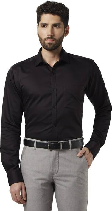 a2a4814de Park Avenue Men Solid Formal Black Shirt - Buy Park Avenue Men Solid Formal  Black Shirt Online at Best Prices in India