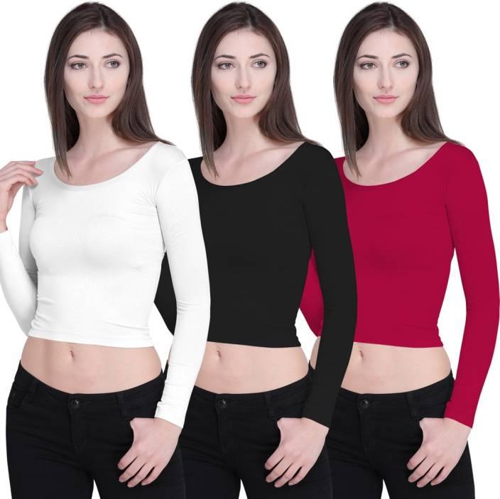 Ziya Casual Full Sleeve Solid Women's White, Black, Pink Top